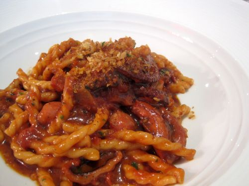 Fusilli with braised octopus and bone marrow